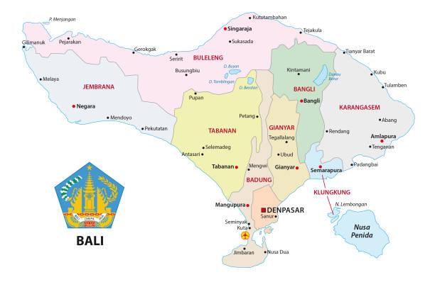 bali administrative und politische karte mit dichtung - denpasar stock-grafiken, -clipart, -cartoons und -symbole