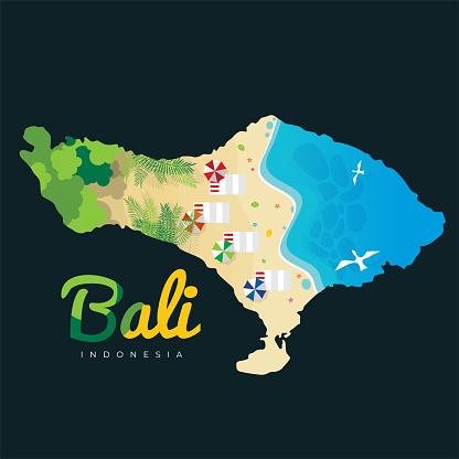 Bali Beach Island Vector Illustration