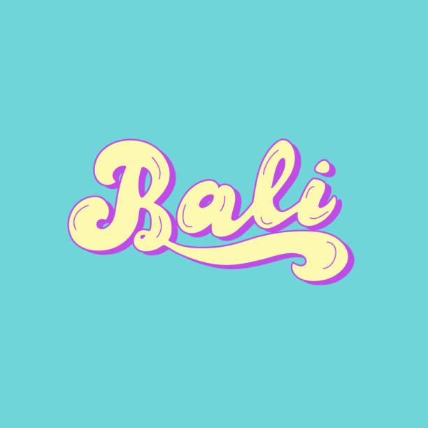 bali handgezeichneter text. reise-, hotel-, surfschulplakate. vector eps 10. - denpasar stock-grafiken, -clipart, -cartoons und -symbole