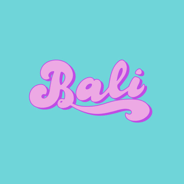 bali handgefertigte symboltyp. stilvolle strandparty oder surfschulplakat. vektor eps 10. - denpasar stock-grafiken, -clipart, -cartoons und -symbole