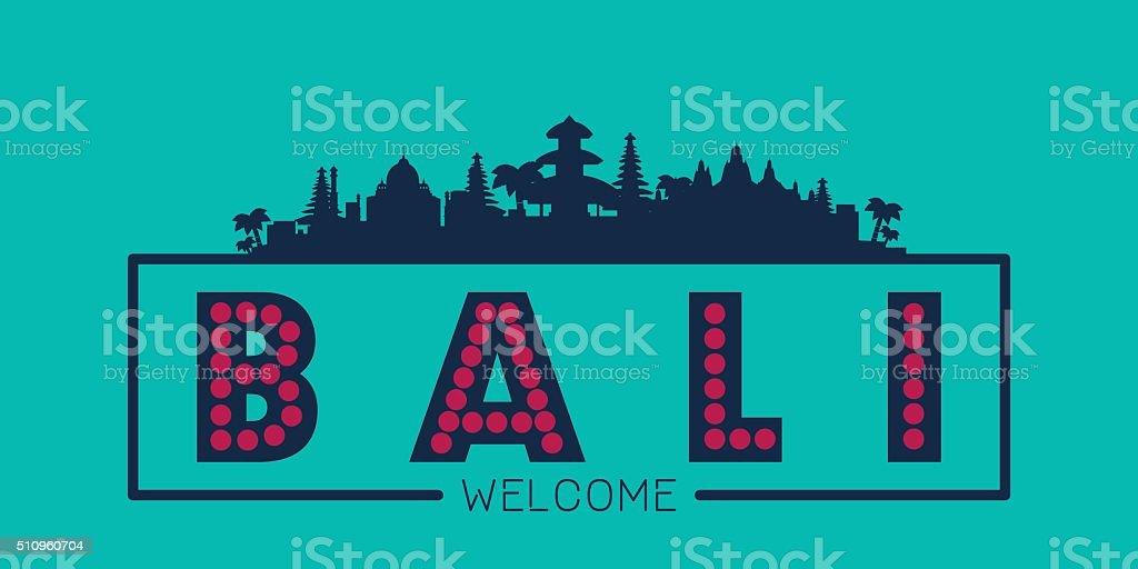 Bali Indonesia city skyline silhouette vector art illustration