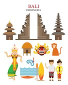 Bali, Indonesia Landmarks and Culture Object Set