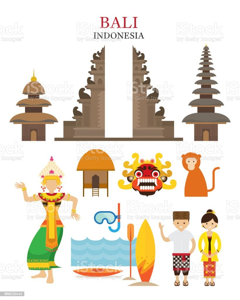 Bali, Indonesia Landmarks and Culture Object Set vector art illustration