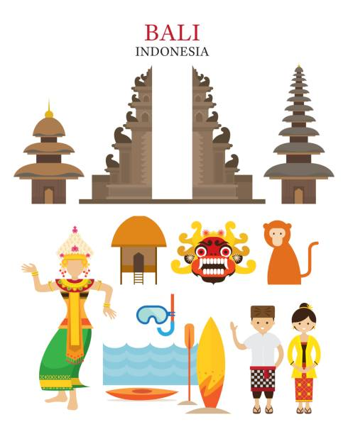 Bali, Indonesia Landmarks and Culture Object Set Architecture, Travel and Tourist Attraction indonesia stock illustrations
