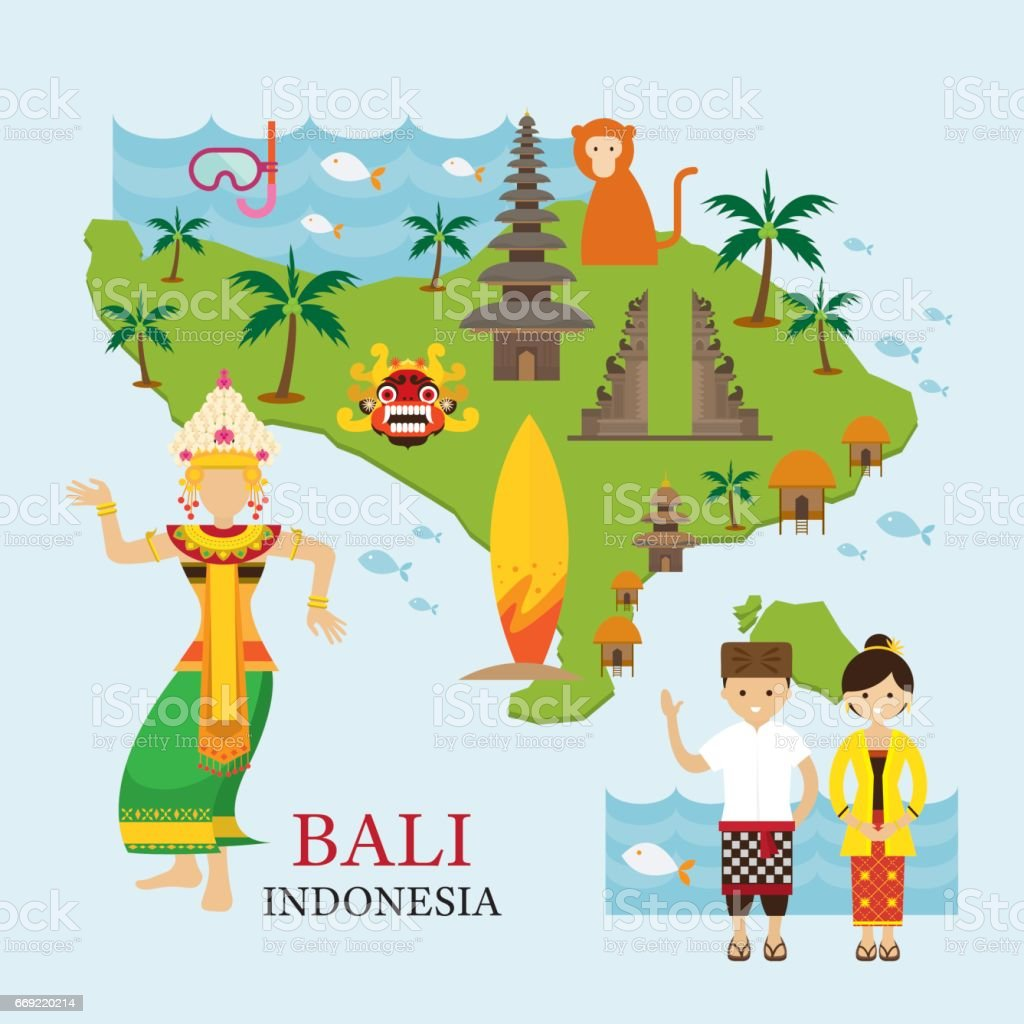 Bali, Indonesia Map with Travel and Attraction vector art illustration