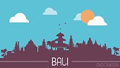 Bali Indonesia skyline silhouette