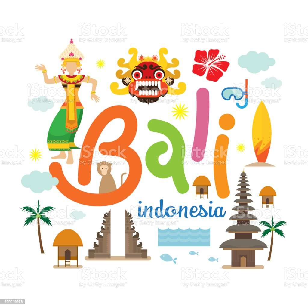 Bali, Indonesia Travel and Attraction vector art illustration