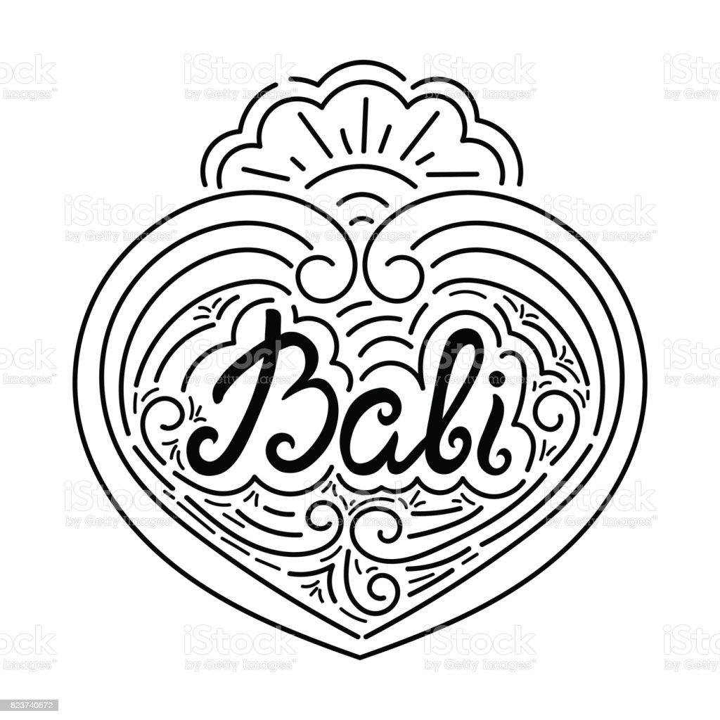 Bali tinta dibujados a mano Letras vectoriales diseño - ilustración de arte vectorial