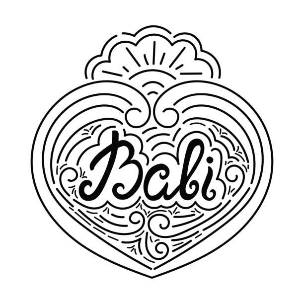 ilustraciones, imágenes clip art, dibujos animados e iconos de stock de bali tinta dibujados a mano letras vectoriales diseño - tipos de letra de tatuajes