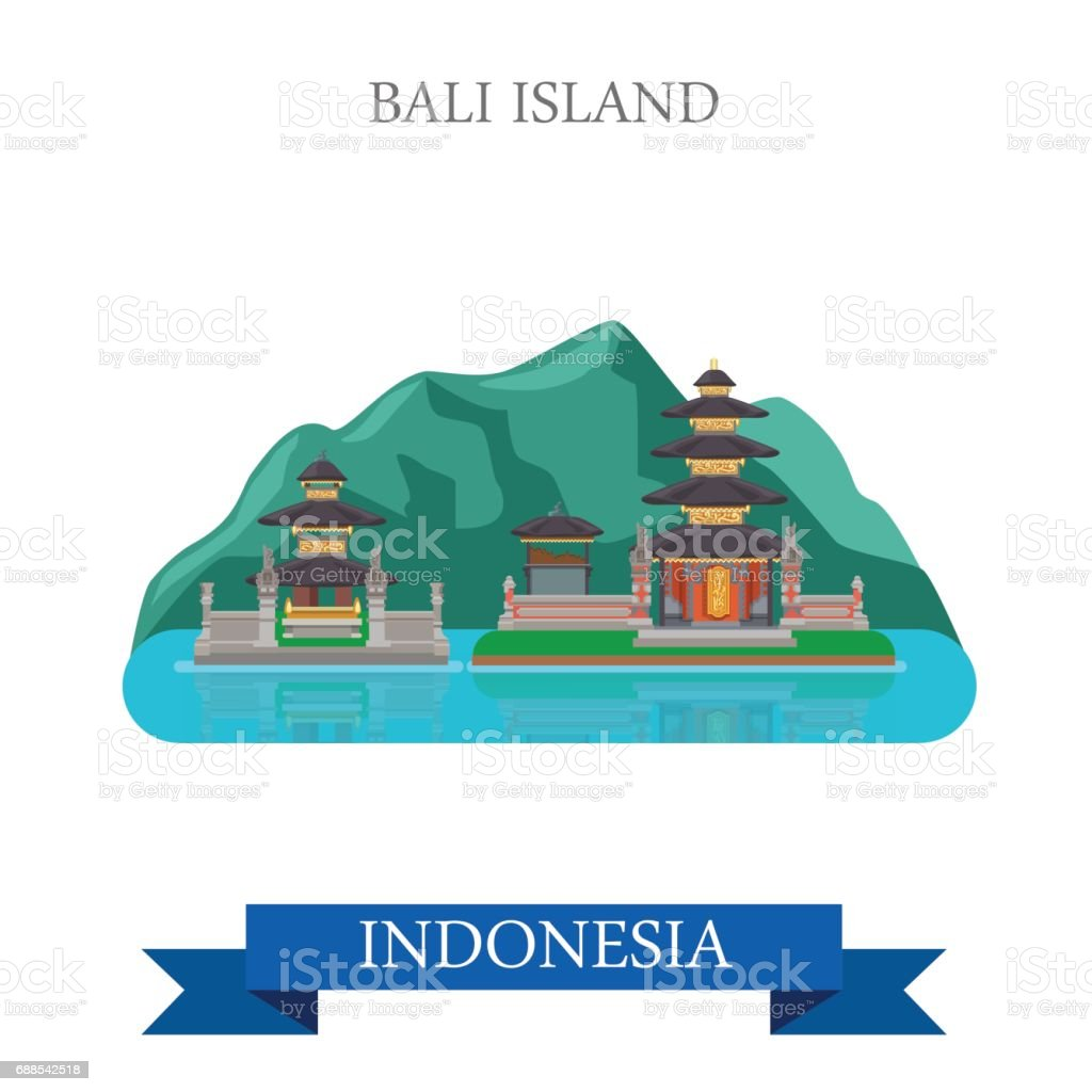 Bali Island In Indonesia Flat Cartoon Style Historic Sight Showplace