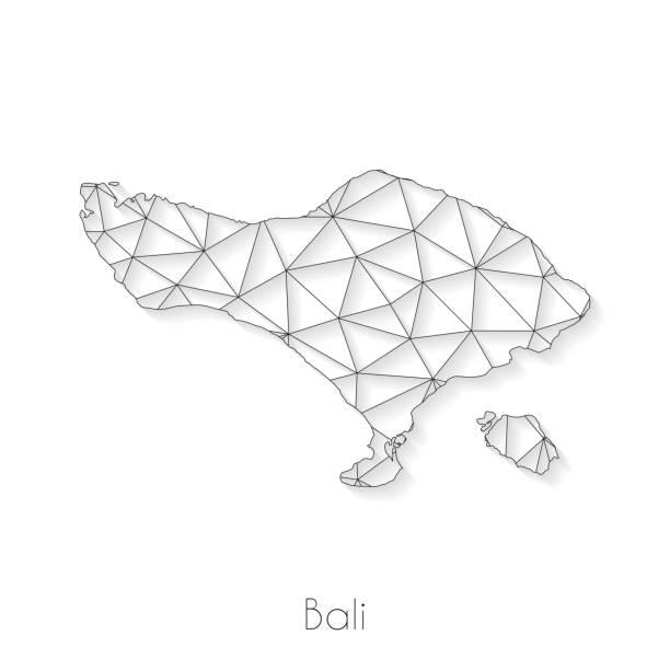 bali-kartenverbindung - netzwerknetz auf weißem hintergrund - denpasar stock-grafiken, -clipart, -cartoons und -symbole
