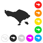 Bali map - Flat icons on different color buttons