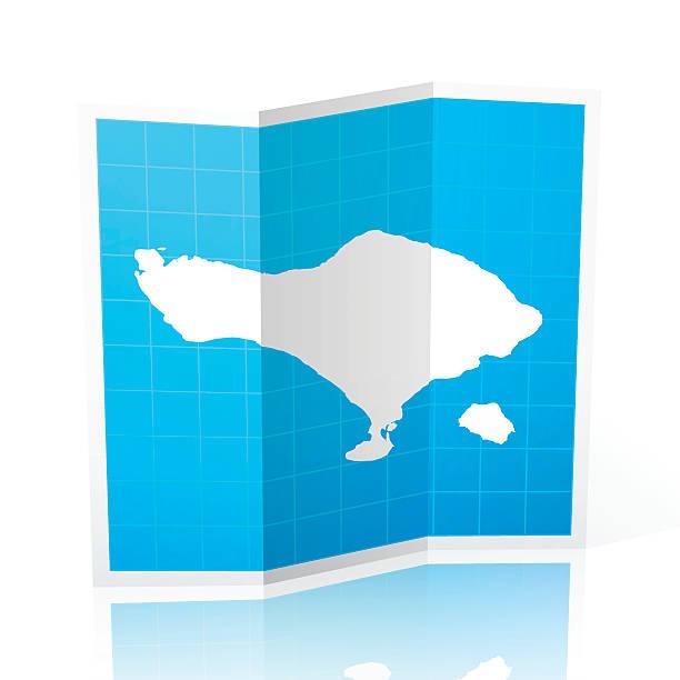 bali karte gefalteten, isolierten auf weißen hintergrund - denpasar stock-grafiken, -clipart, -cartoons und -symbole