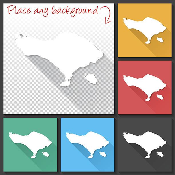 bali map for design, long shadow, flat design - denpasar stock-grafiken, -clipart, -cartoons und -symbole