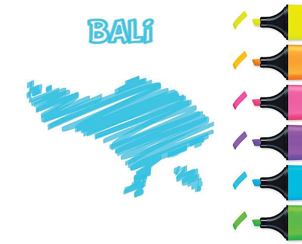 bali karte handgezeichnet auf weißem hintergrund, blau textmarker - denpasar stock-grafiken, -clipart, -cartoons und -symbole
