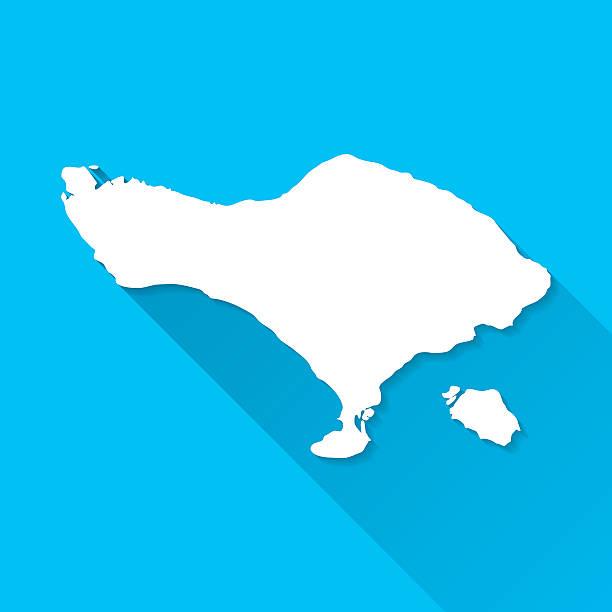 bali-karte auf blauem hintergrund, lange schatten, flat-design - denpasar stock-grafiken, -clipart, -cartoons und -symbole
