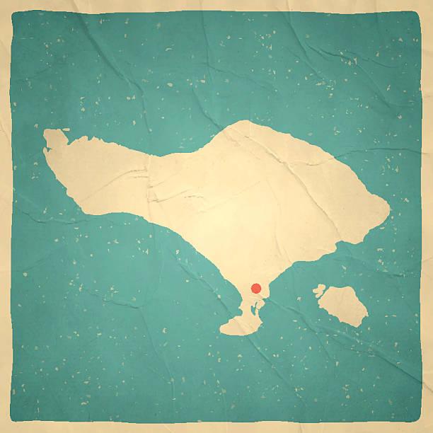 bali karte auf alten papier-vintage-look - denpasar stock-grafiken, -clipart, -cartoons und -symbole
