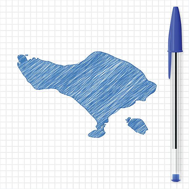 bali karte skizze auf raster, blauen stift und papier - denpasar stock-grafiken, -clipart, -cartoons und -symbole