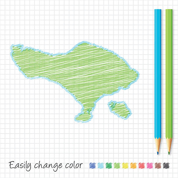 bali kartenskizze mit farbstiften, auf rasterpapier - denpasar stock-grafiken, -clipart, -cartoons und -symbole