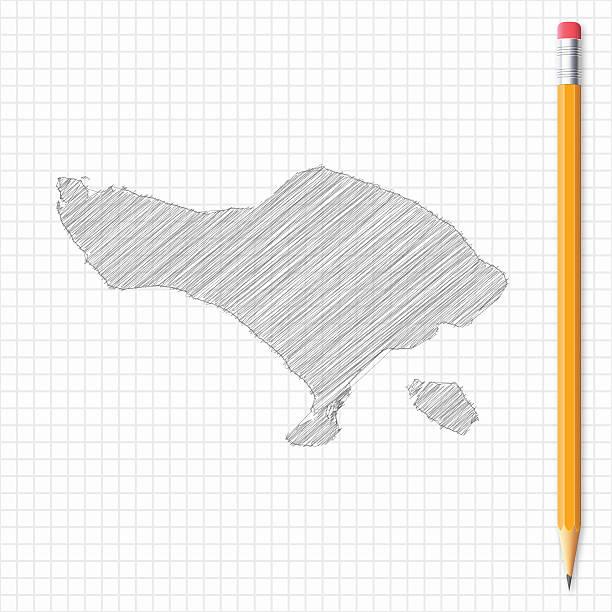 bali karte skizze mit bleistift auf raster papier - denpasar stock-grafiken, -clipart, -cartoons und -symbole