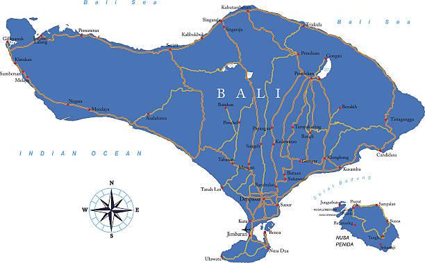 bali-karte - denpasar stock-grafiken, -clipart, -cartoons und -symbole