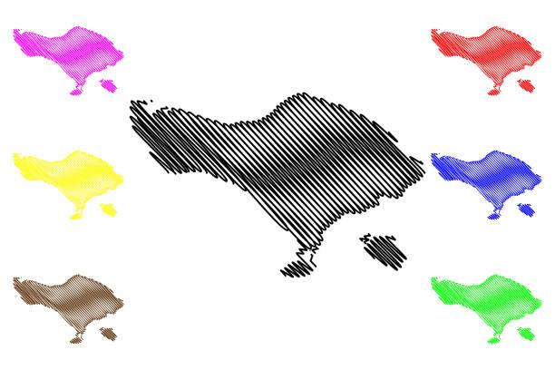bali karte vektor - denpasar stock-grafiken, -clipart, -cartoons und -symbole
