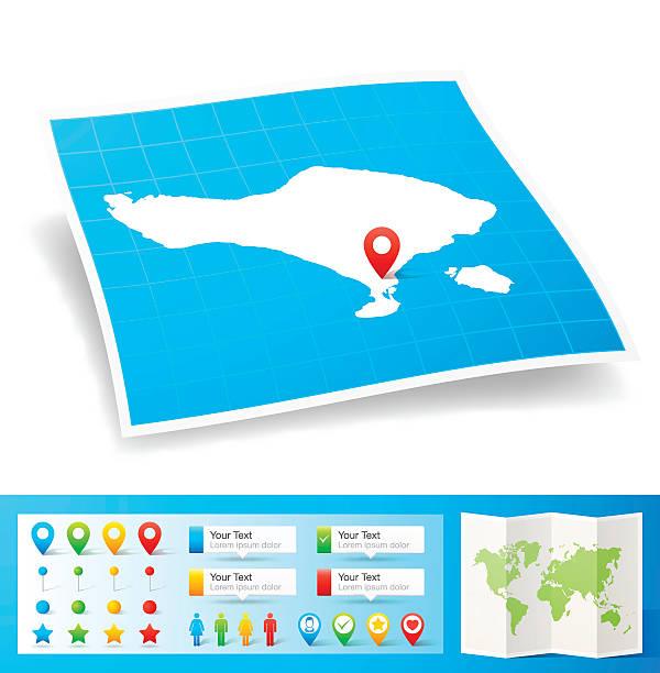 bali karte mit lage pins, isoliert auf weißem hintergrund - denpasar stock-grafiken, -clipart, -cartoons und -symbole