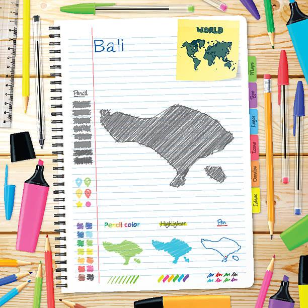 bali karten handgezeichnet auf notebook. hölzerner hintergrund - denpasar stock-grafiken, -clipart, -cartoons und -symbole