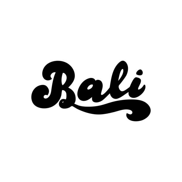 bali einfach handgezeichnetes logo. vector eps 10. - denpasar stock-grafiken, -clipart, -cartoons und -symbole