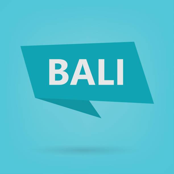 bali-wort auf einem aufkleber - denpasar stock-grafiken, -clipart, -cartoons und -symbole