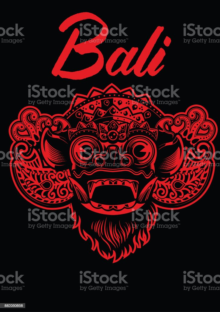 balinese barong mask vector art illustration