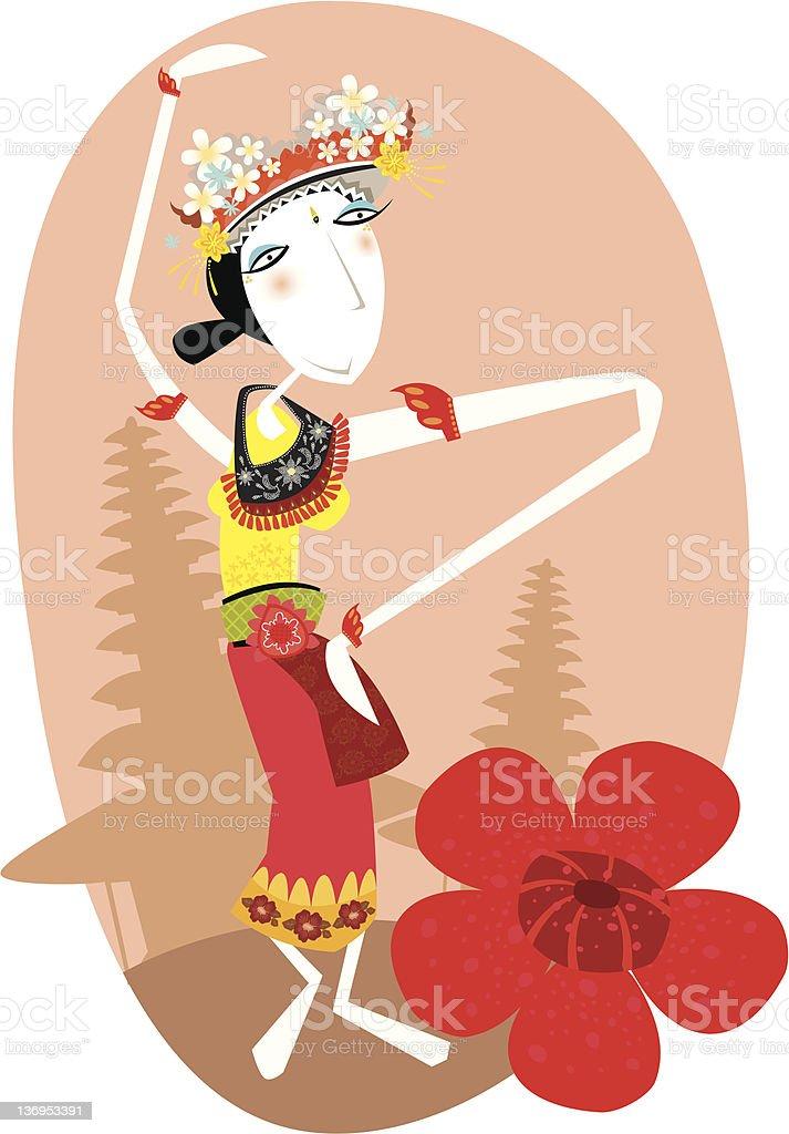 balinese dancer vector art illustration