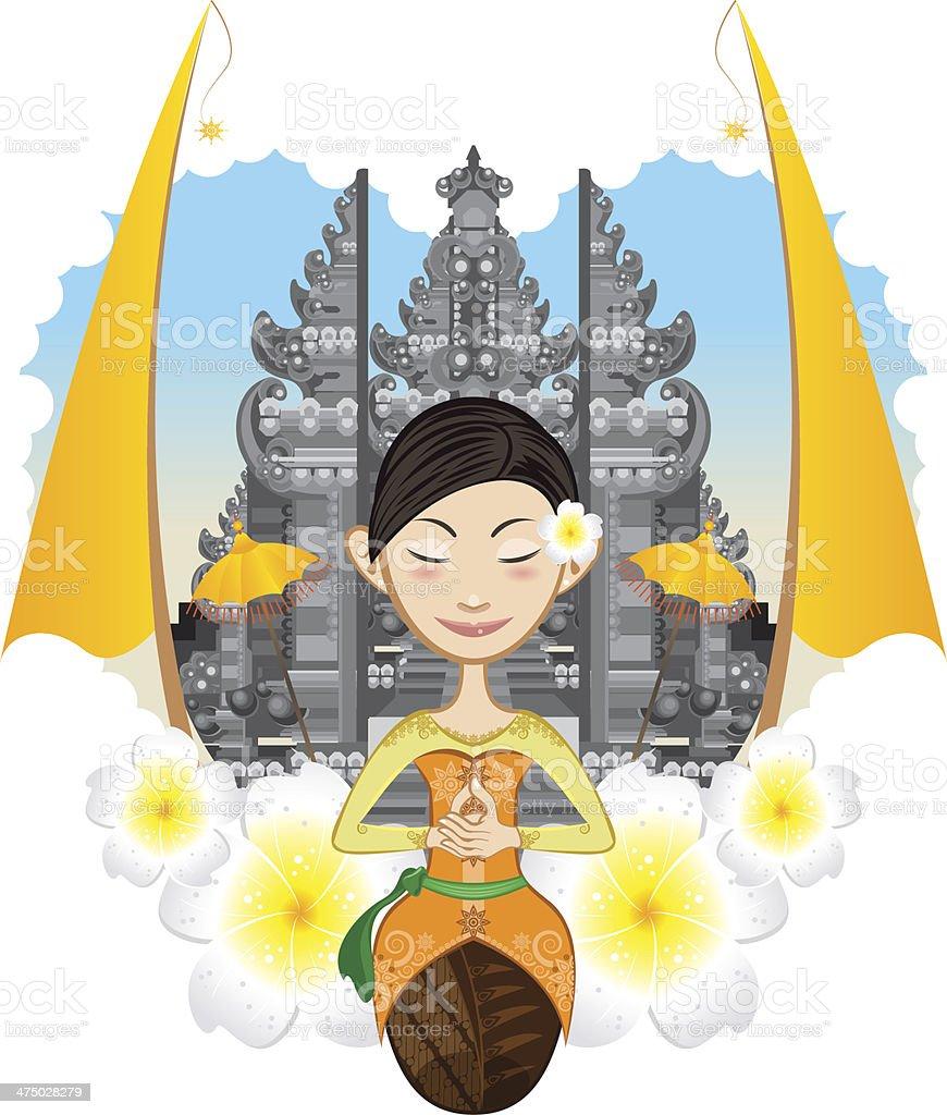 Balinese Girl vector art illustration