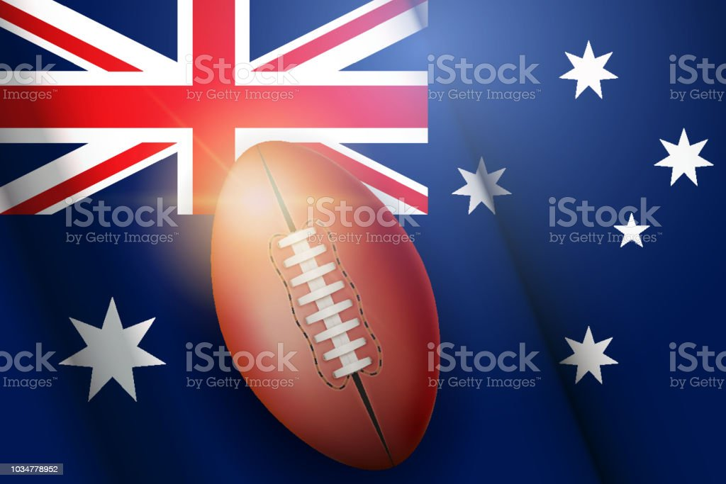 AFL ball and Australian Flag vector art illustration