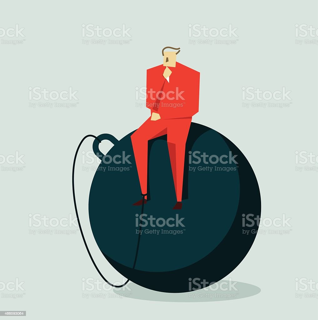 Ball and Chain vector art illustration
