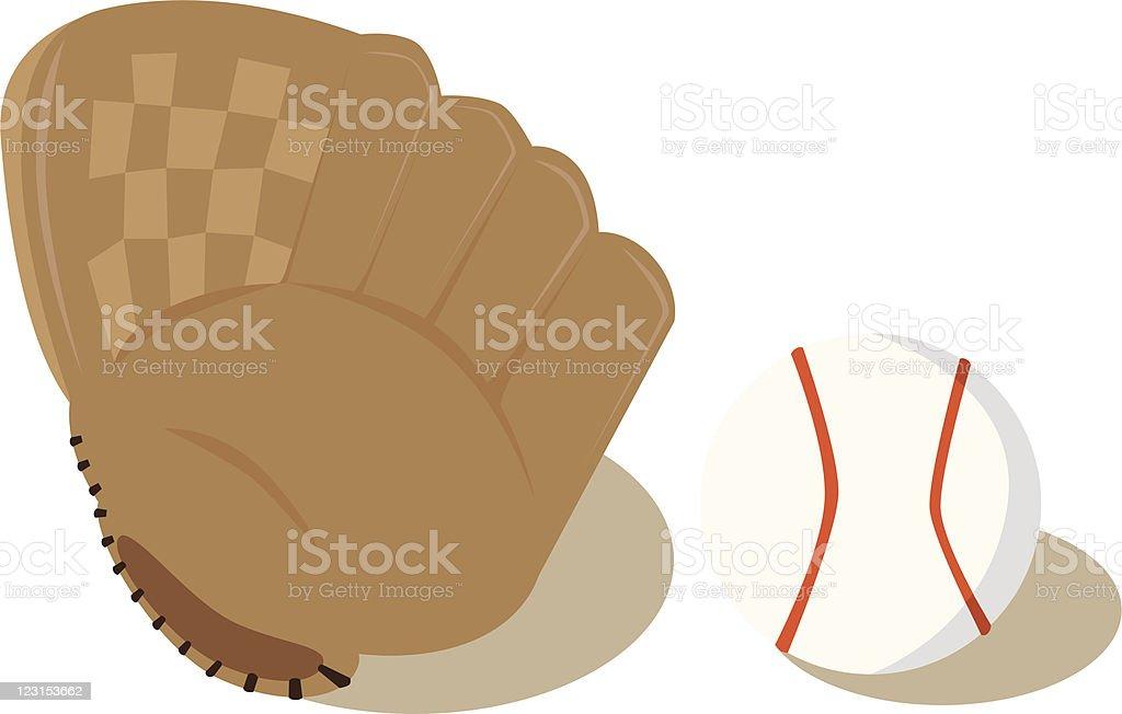 Ball and Glove vector art illustration