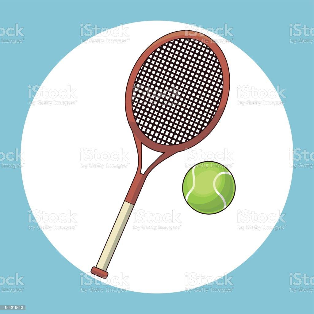 ball and racket tennis vector art illustration