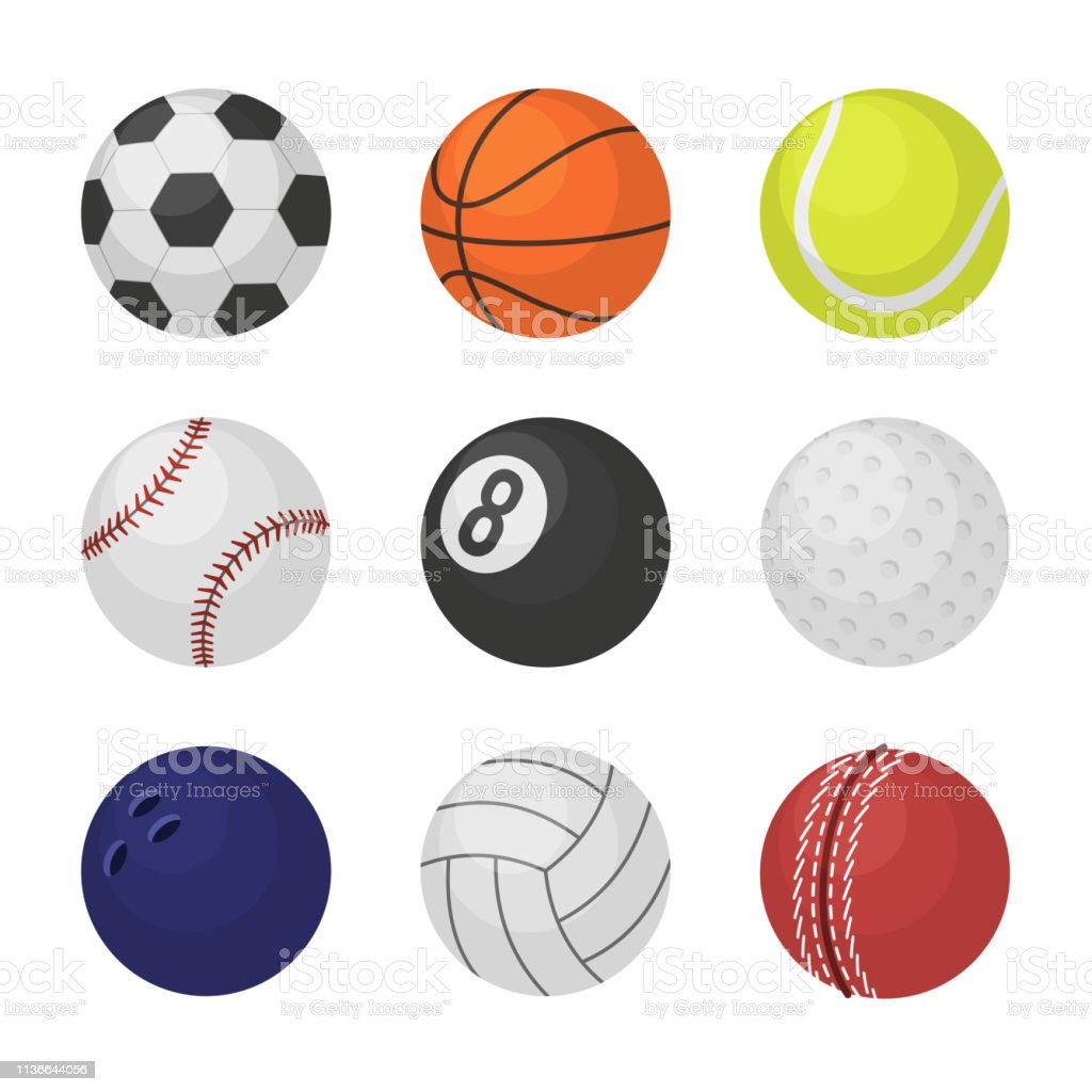 Ball collection. Sports equipment game balls football basketball...