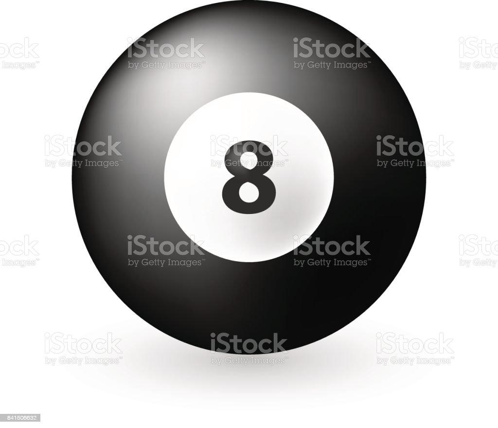 8 Ball Emoticon on White Background vector art illustration