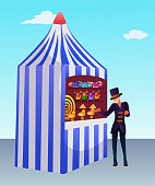 Ball game fair tent flat vector illustration. Smiling vendor inviting visitors cartoon character. Retro kiosk with toys and target. Amusement park, kids zone item. City festival, entertainment concept