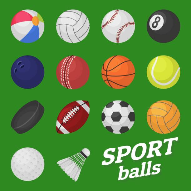 stockillustraties, clipart, cartoons en iconen met bal spel set. sport en games kinderen bal voor volleybal honkbal tennis voetbal voetbal bambinton hockey ballen vector collectie - bal