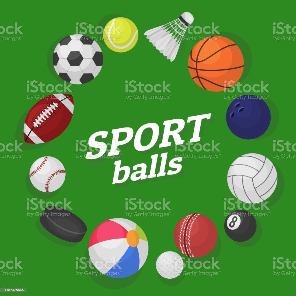 Ball games. Sports equipment collection balls soccer hockey baseball...
