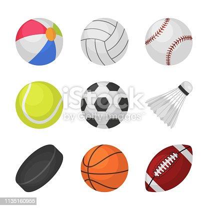 Ball games. Sports kids ball volleyball baseball tennis football soccer bambinton hockey basketball rugby balls vector collection