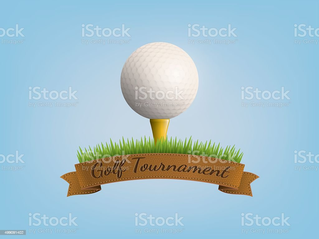 Ball golf on banner ribbon vector art illustration