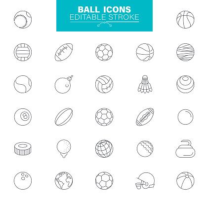 Ball Icons Editable Stroke. Contains such icons as Soccer - Sport , Basketball - Ball , Tennis Ball