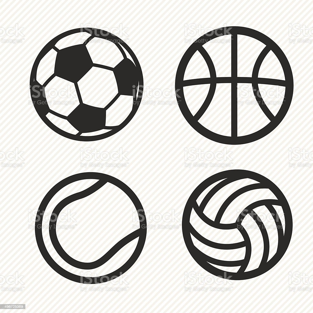 ball icons set. vector art illustration