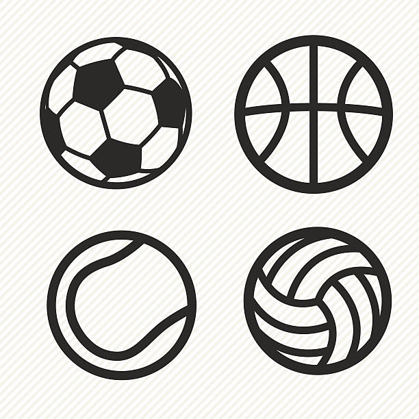 ball icons set. - football stock illustrations, clip art, cartoons, & icons