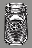 """Ball Jar. Pen and ink style illustration of a Ball jar - canning jar. Check out my """"Vector Food and Utensils"""" light box for more."""