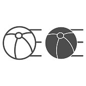 Ball line and solid icon. Sport parachute ball illustration isolated on white. Beach ball outline style design, designed for web and app. Eps 10