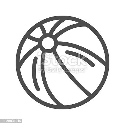 istock Ball line icon, Kids toys concept, beachball sign on white background, Children striped ball icon in outline style for mobile concept and web design. Vector graphics. 1255831910